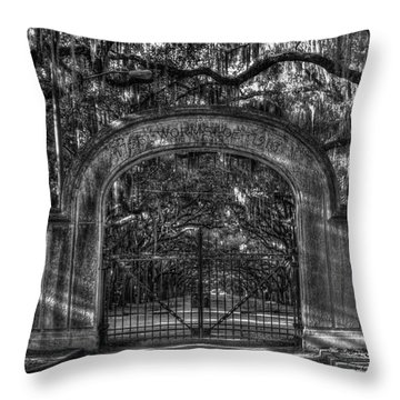 Throw Pillow featuring the photograph Savannah's Wormsloe Plantation Gate Bw Live Oak Alley Art by Reid Callaway
