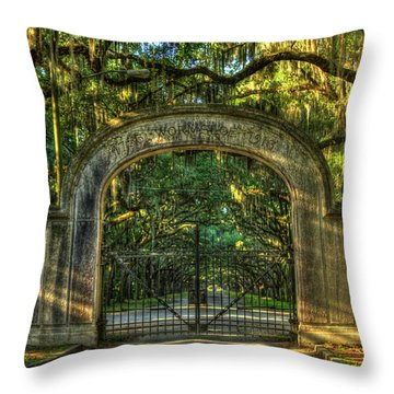 Throw Pillow featuring the photograph Savannah's Wormsloe Plantation Gate Live Oak Alley Art by Reid Callaway