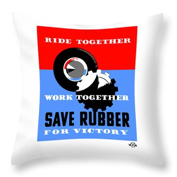 Throw Pillow featuring the mixed media Save Rubber For Victory - Wpa by War Is Hell Store