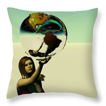 Save The Earth Throw Pillow by Corey Ford