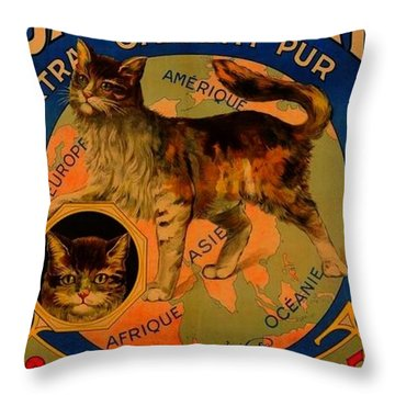 Savon Le Chat Antique French Poster Throw Pillow