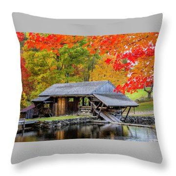Sawmill Reflection, Autumn In New Hampshire Throw Pillow
