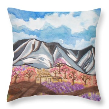 Throw Pillow featuring the painting Sawtooth Mountain Farm by Connie Valasco