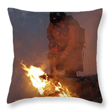 Sawyer, North Pole Fire Throw Pillow