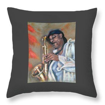 Sax And Linen Throw Pillow