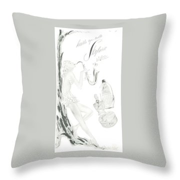 Throw Pillow featuring the digital art Sax Girl by ReInVintaged