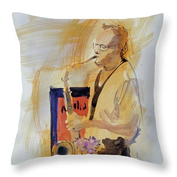 Throw Pillow featuring the painting Sax Man by Gertrude Palmer