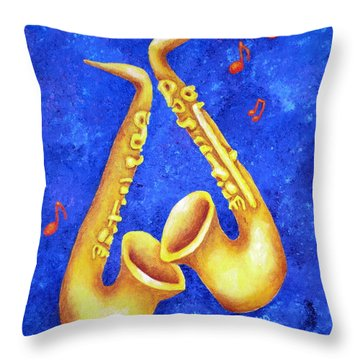 Sax Sex Throw Pillow by Pamela Allegretto