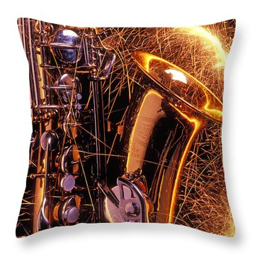 Sax With Sparks Throw Pillow by Garry Gay