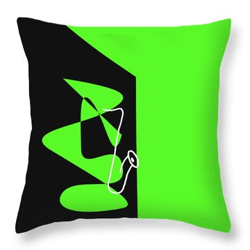 Throw Pillow featuring the digital art Saxophone In Green by Jazz DaBri