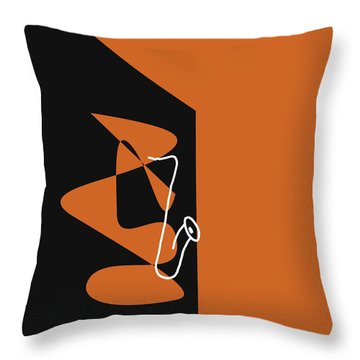 Throw Pillow featuring the digital art Saxophone In Orange by Jazz DaBri