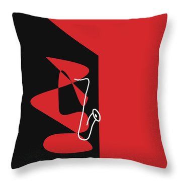 Throw Pillow featuring the digital art Saxophone In Red by Jazz DaBri