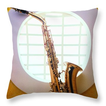 Saxophone In Round Window Throw Pillow by Garry Gay