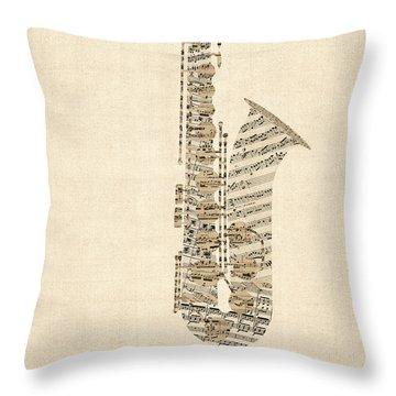 Saxophone Old Sheet Music Throw Pillow
