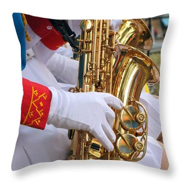 Saxophone Players Throw Pillow by Yali Shi