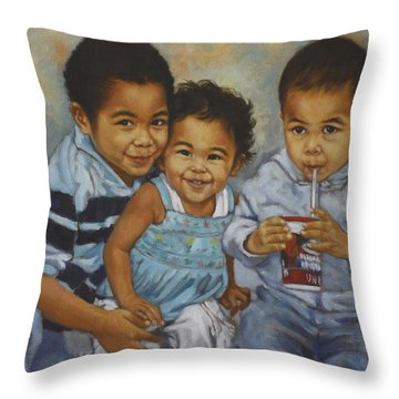 Say Cheese Throw Pillow by Harvie Brown