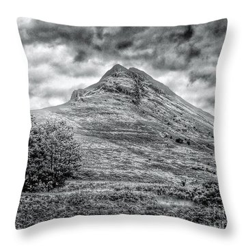 Scafell Pike In Greyscale Throw Pillow