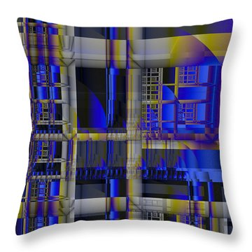 Throw Pillow featuring the digital art Scaffold II by Richard Ortolano