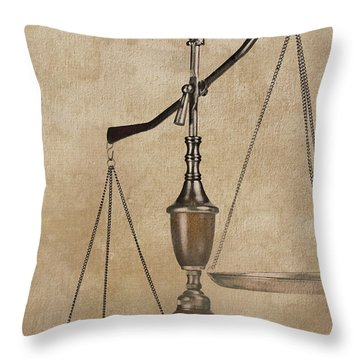 Law Scales Of Justice Throw Pillows