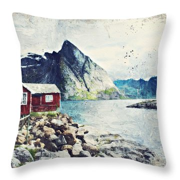 Scandinavian Fyord And A Red Cottage By Adam Asar Throw Pillow