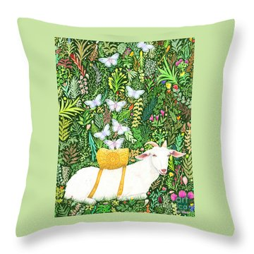 Throw Pillow featuring the painting Scapegoat Healing by Lise Winne