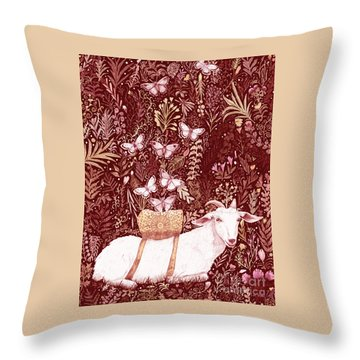 Throw Pillow featuring the digital art Scapegoat Healing Tapestry Print by Lise Winne