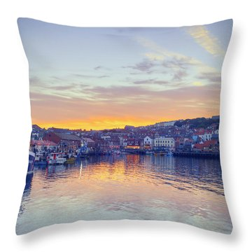 Scarborough Harbour At Sunset Throw Pillow by Ray Devlin