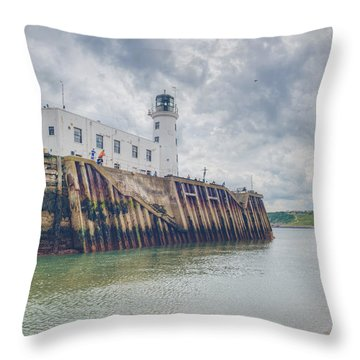 Scarborough Harbour Throw Pillow