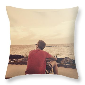 Throw Pillow featuring the photograph Scarborough Jetty Sunset by Jorgo Photography - Wall Art Gallery
