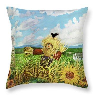 Scare Crow And Silo Farm Throw Pillow
