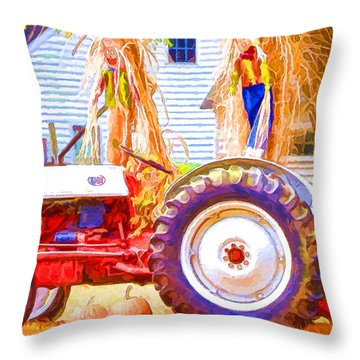 Scarecrow And Pumpkins Throw Pillow by Lanjee Chee