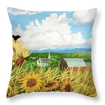 Scarecrow Farm Throw Pillow