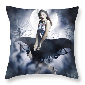 Throw Pillow featuring the photograph Scared Young Woman In Eerie Halloween Forest  by Jorgo Photography - Wall Art Gallery