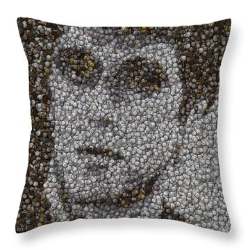 Throw Pillow featuring the mixed media Scarface Coins Mosaic by Paul Van Scott