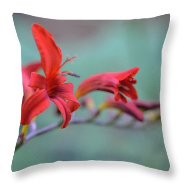 Scarlet Blooms Throw Pillow