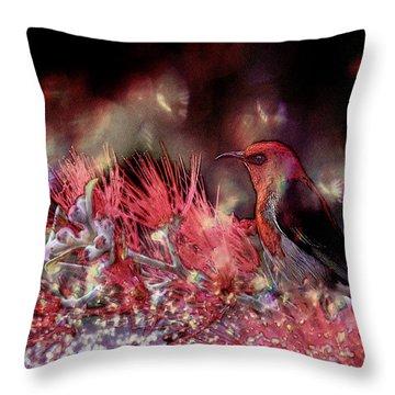 Scarlet Honeyeater Throw Pillow by Ericamaxine Price