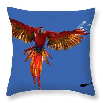 Scarlet Macaw On The Osa Peninsula Throw Pillow