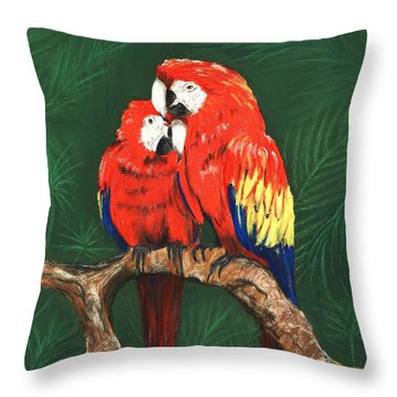 Throw Pillow featuring the painting Scarlet Macaws by Anastasiya Malakhova