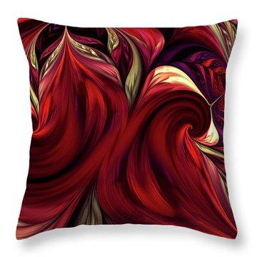 Throw Pillow featuring the digital art Scarlet Red by Deborah Benoit