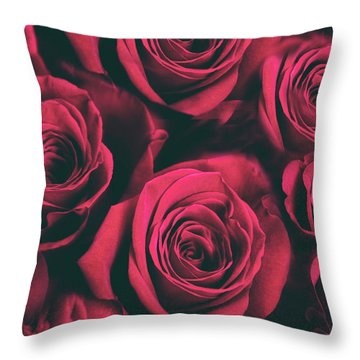Throw Pillow featuring the photograph Scarlet Roses by Jessica Jenney