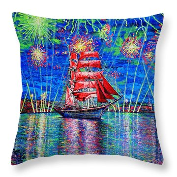 Scarlet Sail Throw Pillow