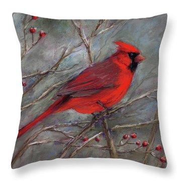 Scarlet Sentinel Throw Pillow