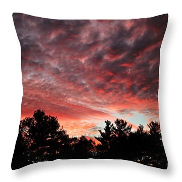 Throw Pillow featuring the photograph Scarlet Sunset Silhouette by Kenny Glotfelty