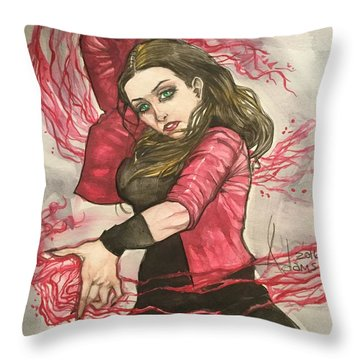 Scarlet Witch  Throw Pillow by Jimmy Adams