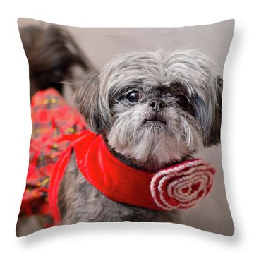 Scarlett In Christmass Dress Throw Pillow