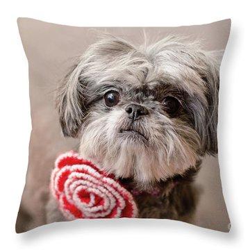 Scarlett In Red Flower Throw Pillow