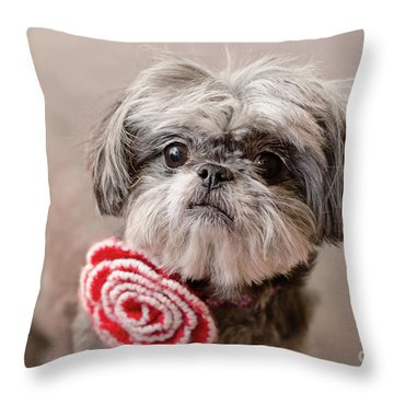 Scarlett In Red Flower Throw Pillow