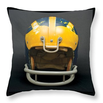 Throw Pillow featuring the photograph Scarred 1970s Wolverine Helmet by Michigan Helmet