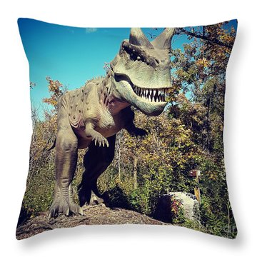Scary Carnotaurus Throw Pillow