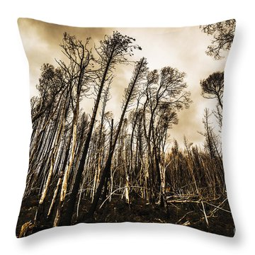 Scary Charcoal Forest  Throw Pillow